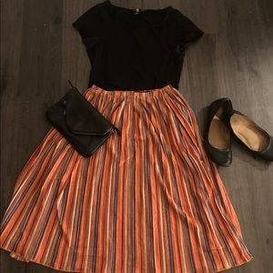 O'neill flared multi colored striped skirt.
